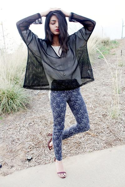 splatter print H&M pants - mesh hooded windsor cape