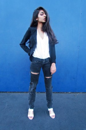 black black buttoned STAR blazer - black ripped DIY pants