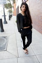 barely there H&M sandals - striped trouser Macys pants - sheer vintage top