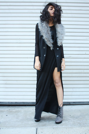 silver Zara boots - black DIY dress