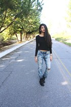 long sleeved Anne Klein t-shirt - DIY jeans