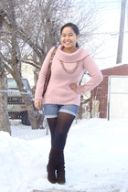 pink Old Navy sweater - blue Old Navy shorts - black SM socks - gray Divi neckla