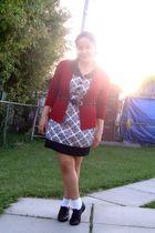 white Juana scarf - red Divi cardigan - brown GoJane shoes - black Suzy Shier be