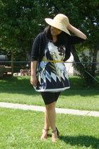 beige Walmart hat - white maldita dress - black Sirens leggings - gold Divi shoe