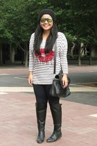 black Zara boots - black Daniel Footwear bag - navy Zara pants