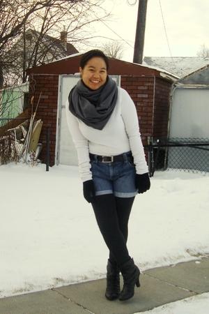 gray American Apparel scarf - white joe fresh style top - blue Old Navy shorts -