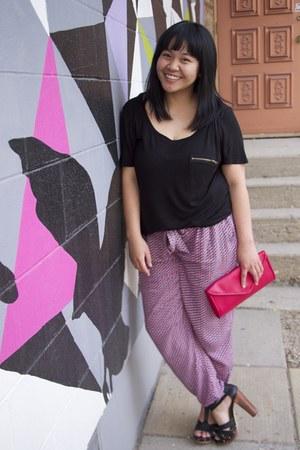 black H&M top - hot pink clutch Boes Ltd bag - magenta Kenzie pants
