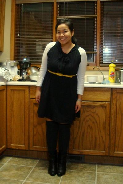 white joe fresh style top - black landmark dress - yellow joe fresh style belt -