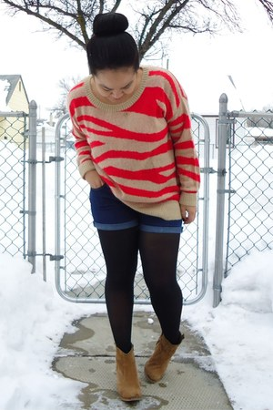 carrot orange Club Monaco sweater - brown asos boots - black tights