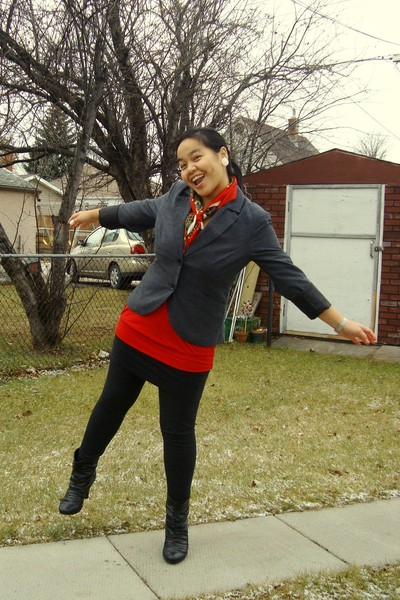 black Dynamite blazer - red Value Village scarf - red Mariposa top - black garag