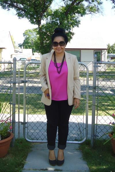 black heels - hollister jeans - nude H&M blazer - hot pink Forever 21 top