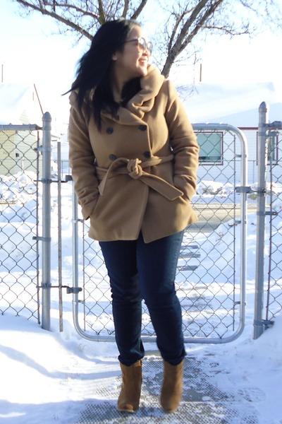 camel Zara coat - brown asos boots - navy winners jeans
