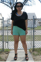 black H&M top - aquamarine Zara shorts - turquoise blue J Crew necklace