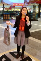black Suzy Shier blazer - orange bench t-shirt - gray American Apparel skirt - b