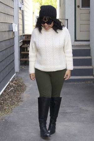 black Zara boots - white Zara sweater - black Forever 21 sunglasses