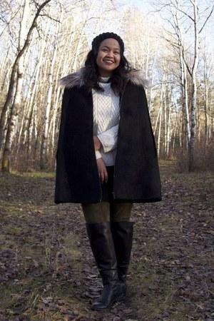 black Zara boots - white Zara sweater - army green Uniqlo pants