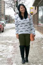 black Zara boots - black H&M hat - heather gray Zara sweater