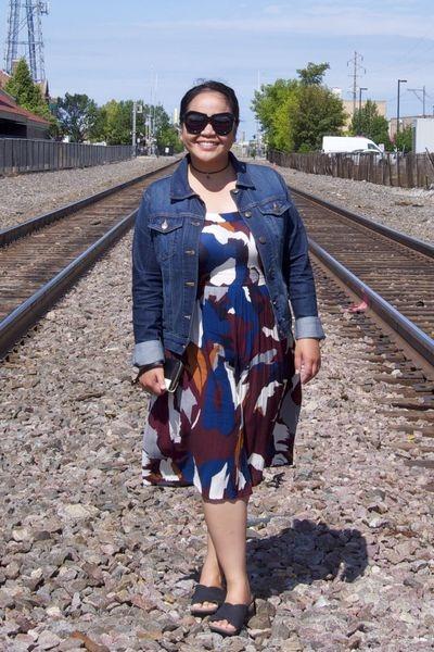 black Karen Walker sunglasses - magenta Loft dress - navy banana republic jacket