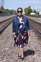 black Karen Walker sunglasses - magenta Loft dress - navy banana republic jacket