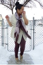 brown Urban scarf - maroon Forever 21 leggings - cream brandy melville cardigan
