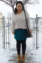 beige thrifted sweater - camel asos boots - dark green worn as skirt Zara dress