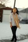 Gray-joe-fresh-style-top-black-garage-leggings-beige-scarf-brown-le-chatea