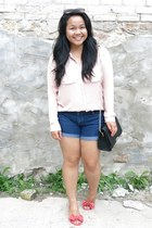 black Forever 21 bag - light pink H&M shirt - navy Forever 21 shorts