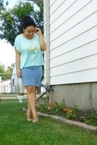 aquamarine Nollie top - beige Charlotte Russe wedges - sky blue Talula skirt