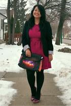 hot pink Topshop dress - black Suzy Shier blazer - purple Choies bag