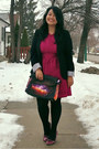 Hot-pink-topshop-dress-black-suzy-shier-blazer-purple-choies-bag