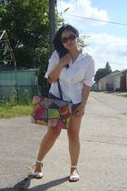 white shirt - blue Old Navy shorts - white Divi shoes - pink baguio purse - brow