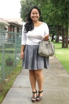 heather gray American Apparel skirt - silver Alexander Wang bag