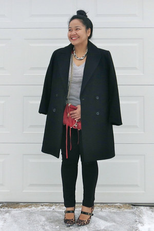 black Zara coat - heather gray Club Monaco sweater - red Rebecca Minkoff bag