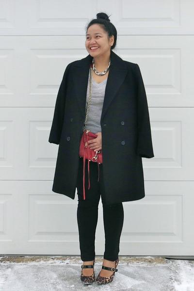 black Zara coat - heather gray Club Monaco sweater - red Rebecca Minkoff bag