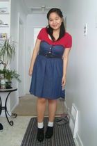blue voom by joy hann dress - red Sirens top - white socks - black belt - black