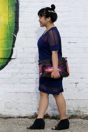 deep purple Choies dress - navy Choies bag - black Shooin wedges