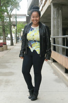 black Aldo shoes - black leather Urban jacket - yellow Zara top