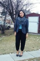 gray Dynamite blazer - blue top - black Divi pants - black Suzy Shier belt - bla
