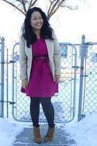 camel asos boots - magenta Topshop dress - beige H&M blazer - black tights