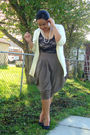 Yellow-h-m-cardigan-black-american-apparel-suit-green-forever-21-pants-whi