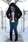 Dark-brown-le-chateau-boots-black-puffy-jacket-heather-gray-h-m-scarf
