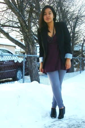 black Suzy Shier blazer - purple Kismet top - silver American Apparel leggings -