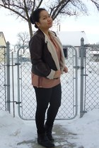 black olsenboye boots - dark brown Burlington jacket - tawny H&M top