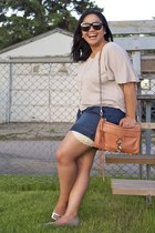 carrot orange Rebecca Minkoff bag - navy sammydress shorts
