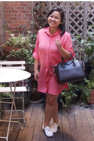 coral Zara dress - black Givenchy bag - white Keds sneakers