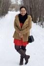 Dark-brown-lifestride-boots-red-lola-dress-light-brown-zara-coat