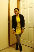 black Suzy Shier blazer - yellow American Apparel t-shirt - silver American Appa