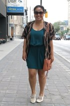 brown kimono Forever 21 top - forest green Zara dress