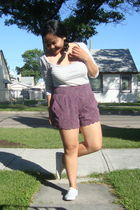 white Jacob top - purple Urban Outfitters shorts - white Keds shoes