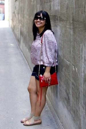 red Rebecca Minkoff bag - navy joe fresh style shorts - black Chanel sunglasses